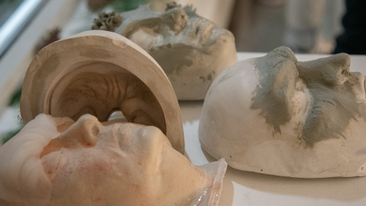 Plaster molds of faces with silicon effects on top of them
