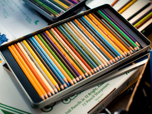 Tray of colored pencils