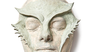 Mask made on a plaster mold of a face