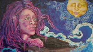 A mixed media art piece of a woman and the moon