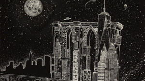 Drawing of the New York skyline at night
