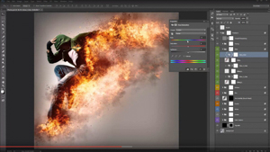 Photoshop file of someone turning into flames