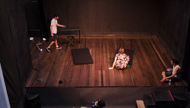 Students working on stage