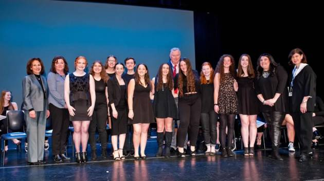 Nassau BOCES Long Island High School for the Arts Dance students were inducted into the National Honor Society for Dance Arts in a special ceremony held recently in the Rosalind Joel Conservatory for Music and Theatre building on the school's campus in Syosset.