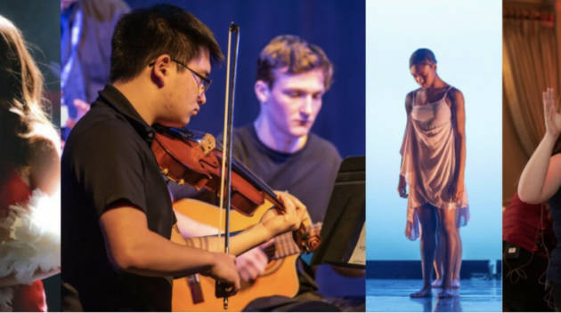 Four images of students performing