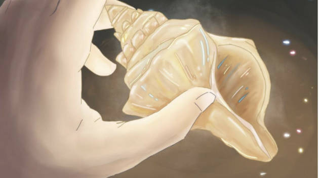 A hand holding a shell by Kirstin Scott