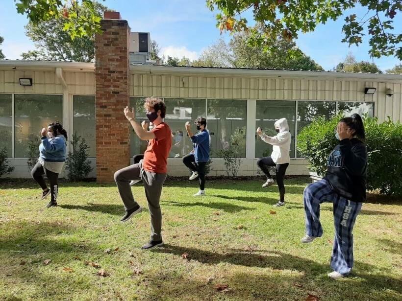 socially distanced outdoor class